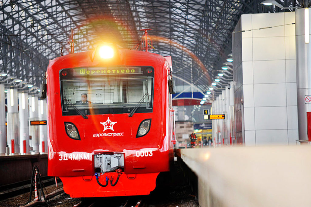 Aeroexpress train in Sheremetyevo