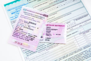 Russian driver license, registration certificate and vehicle insurance