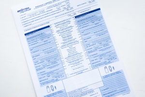 Common look of «Notice about accident» form