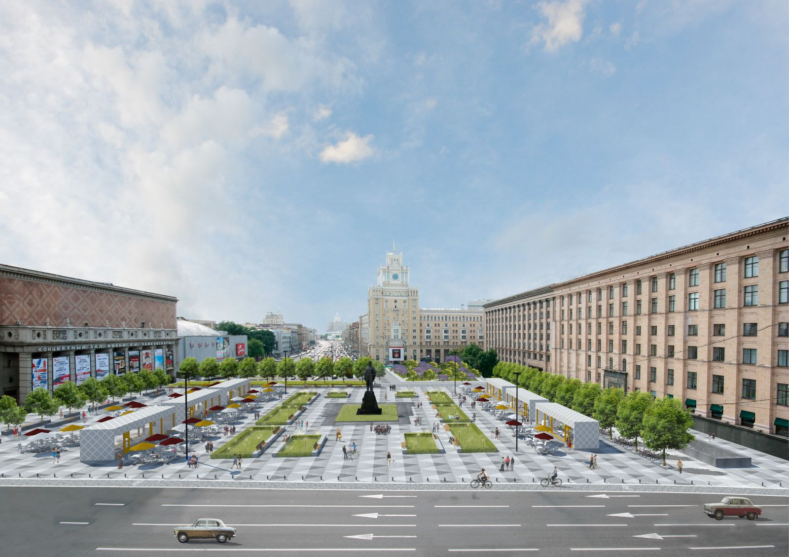 Reconstruction of the Triumphal Square and the Bronniye Streets will be completed by the City Day